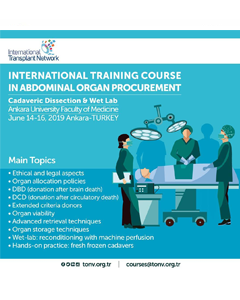14-16 Haziran International Training Course in Abdominal Organ Procurement